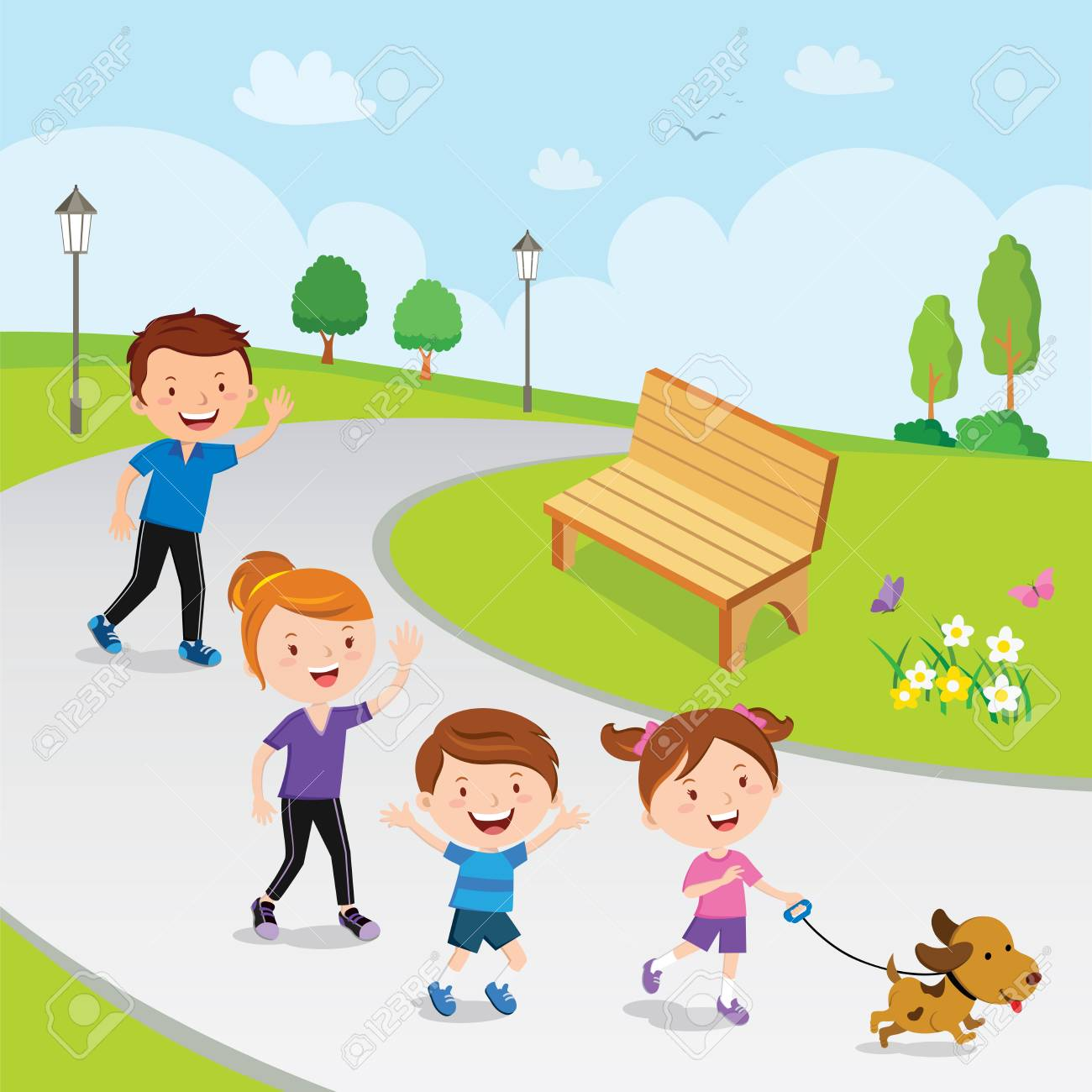 Family walking in the park.