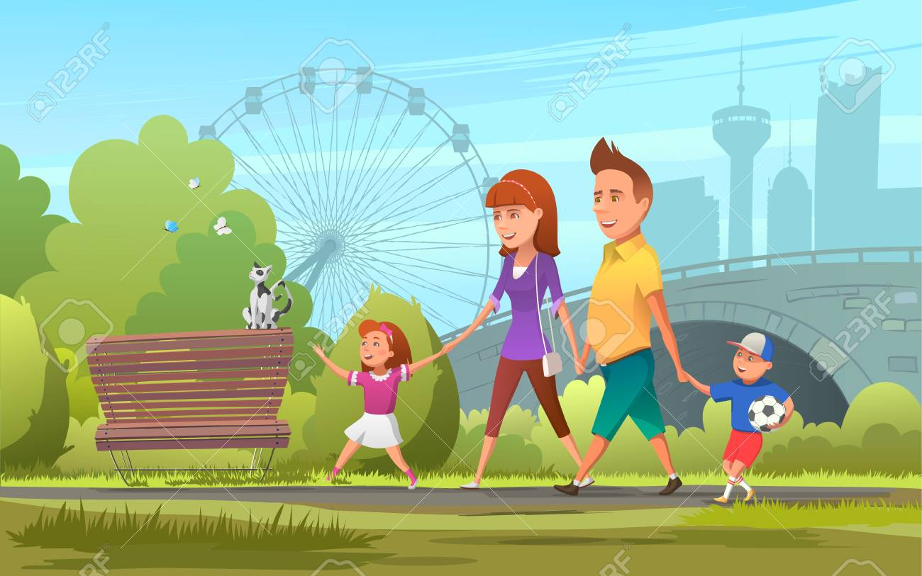 Cheerful family walking in park. Vector illustration of happy...