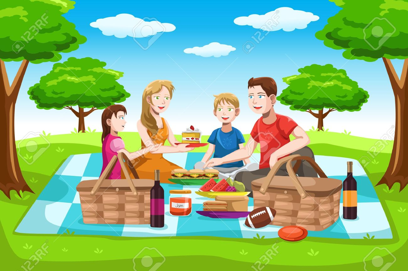 A illustration of a happy family having a picnic in the park.