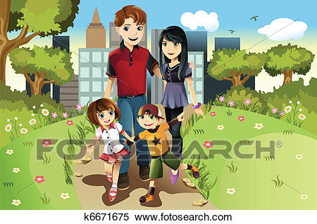Family in the park Clipart.