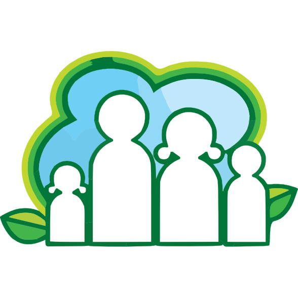 Royalty Free Vector Of An Eco Family And Leaves Logo By Lal Perera.