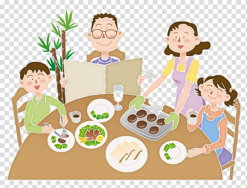 Eating Cartoon Family Meal Illustration, The family eats.