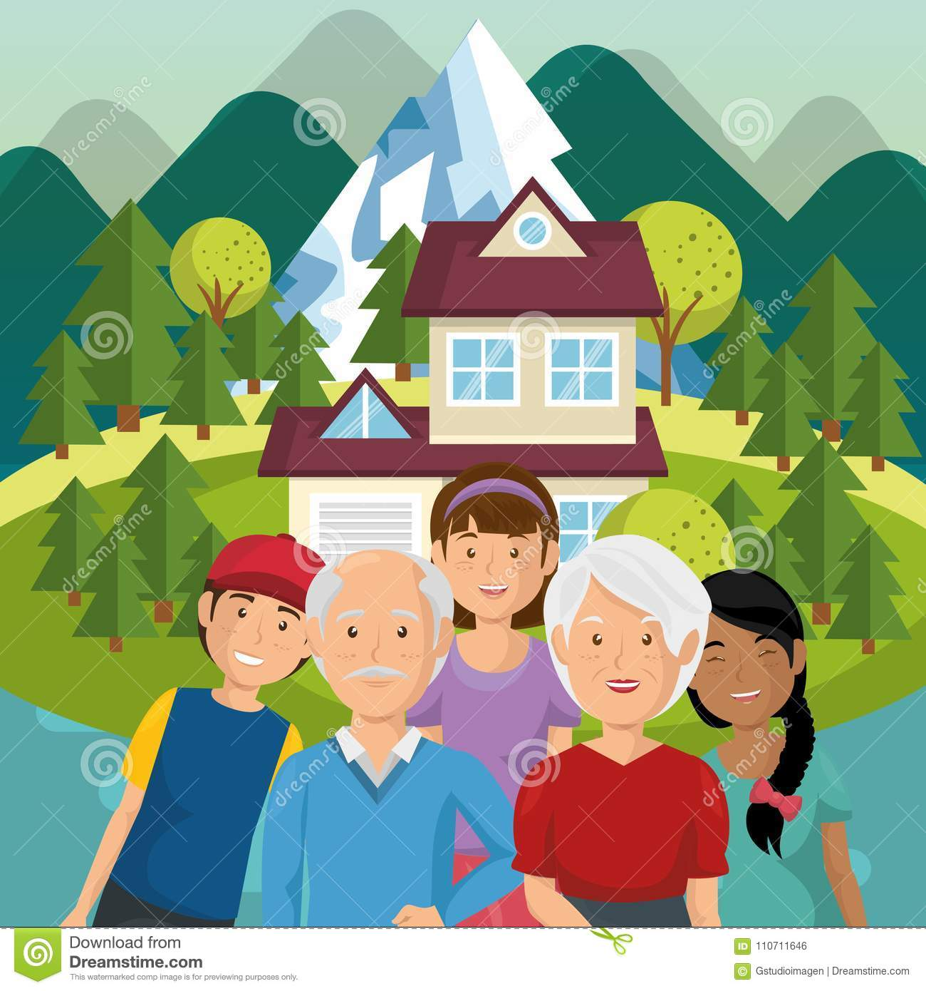 Family Members Outside Of The House Stock Vector.