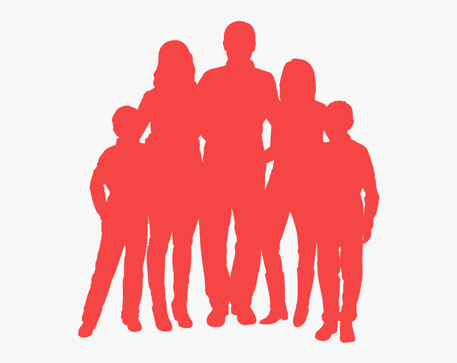 Family Of Five Silhouette , Free Transparent Clipart.