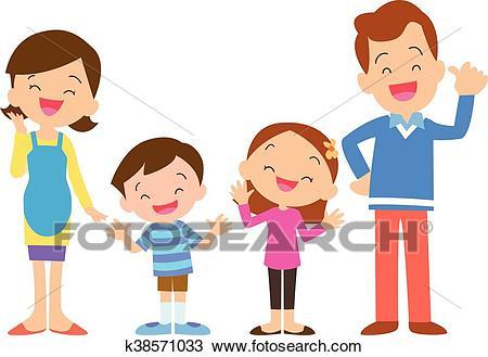 Four member family posing Clipart.