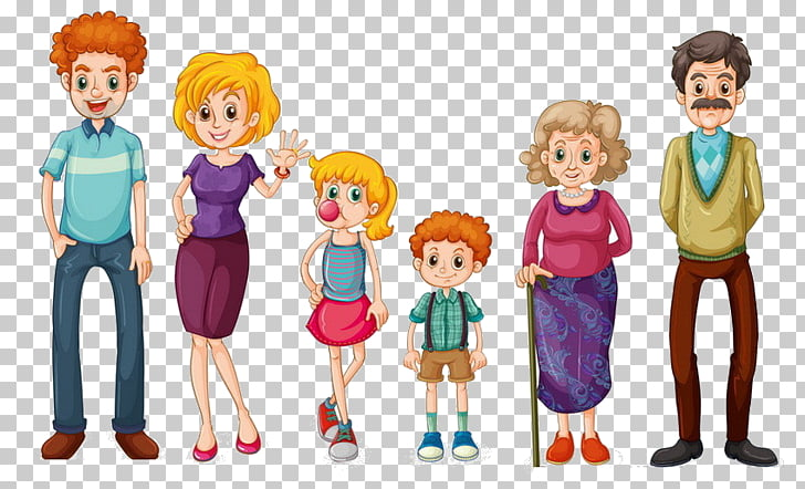 Family , family, six member family illustration PNG clipart.