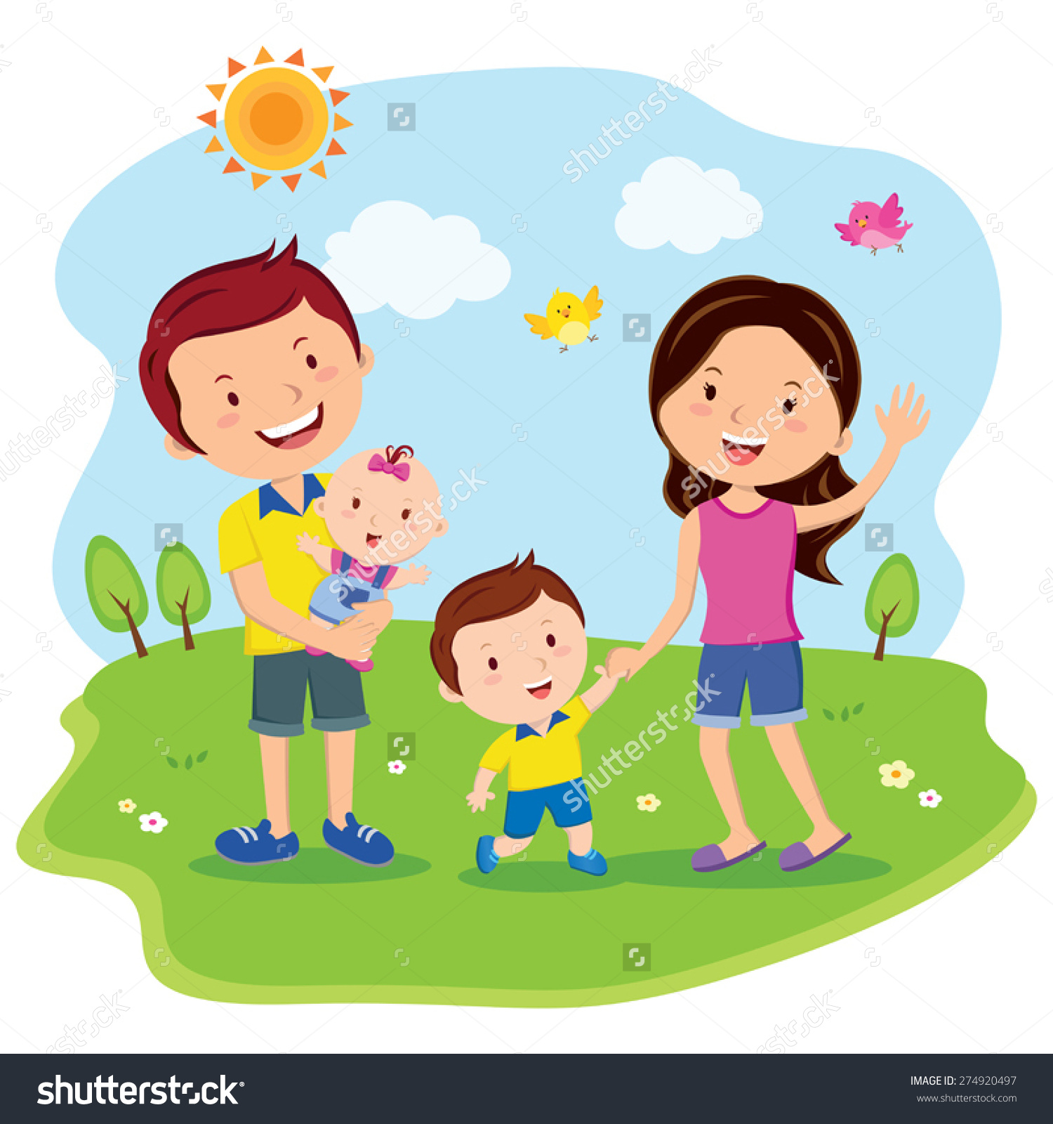 Happy Family Day Cheerful Outing Stock Vector 274920497