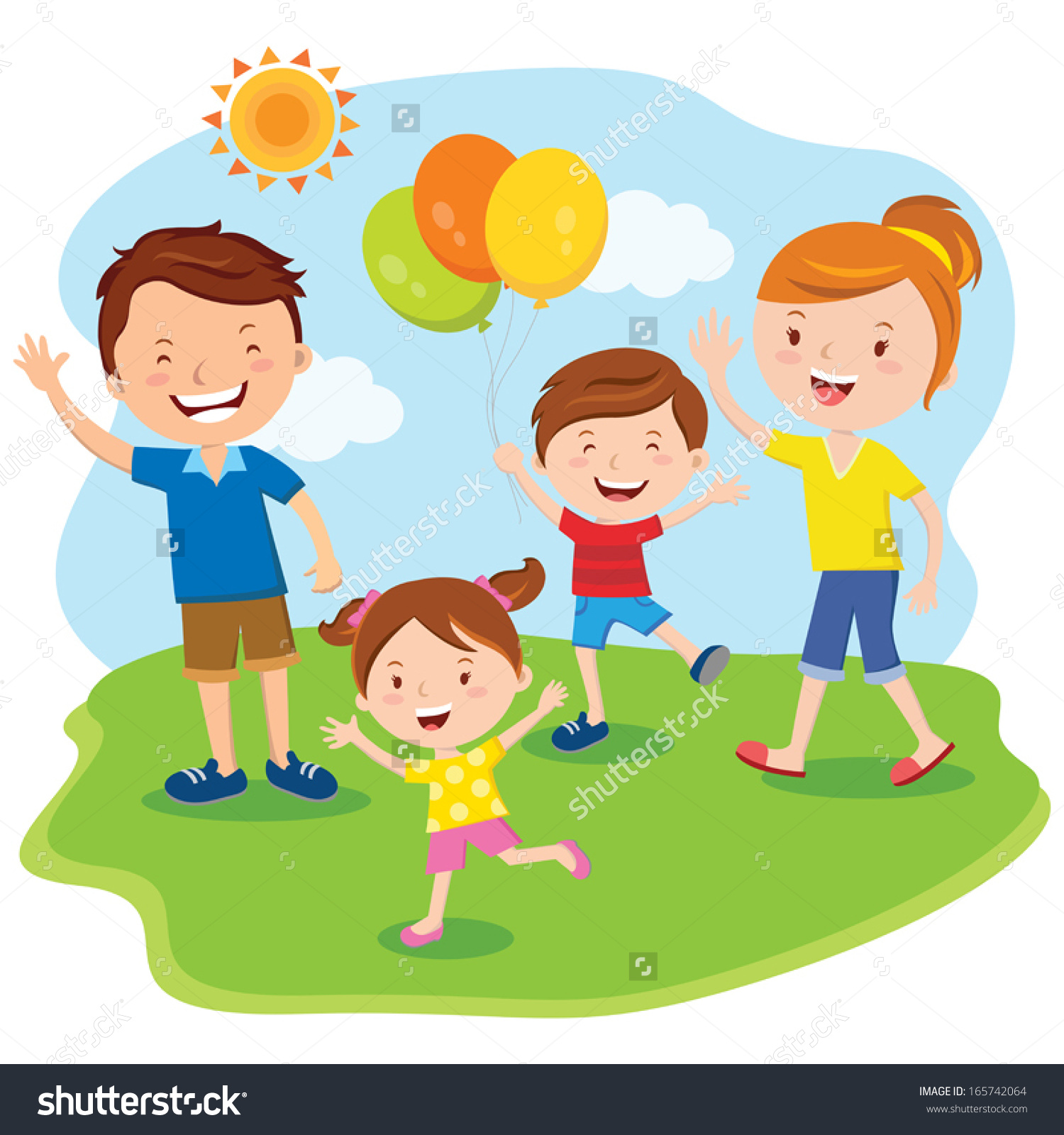 Family Day Happy Family Outing Fun Stock Vector 165742064.