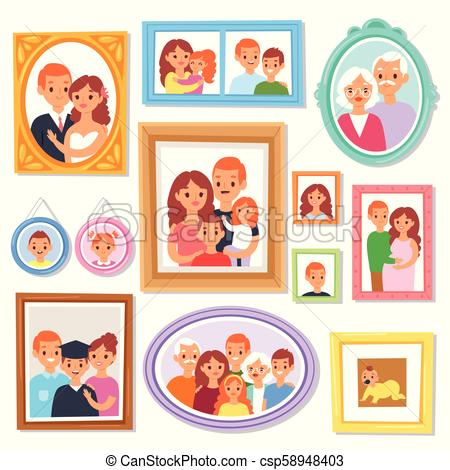Frame vector framing picture or family photo on wall for decoration  illustration set of vintage decorative border for photography with kids and.