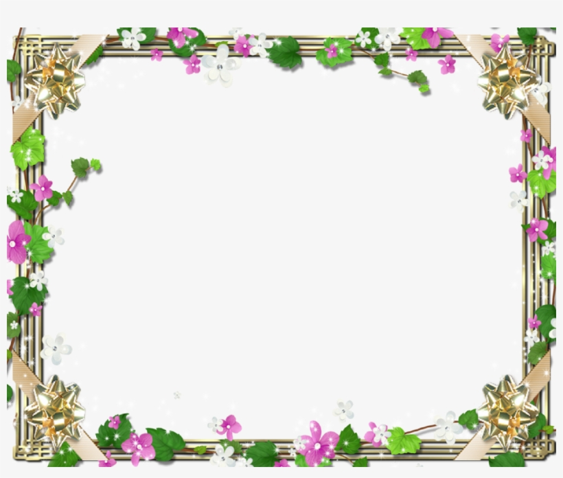 Family Picture Frame With Cute Flowers And Green.