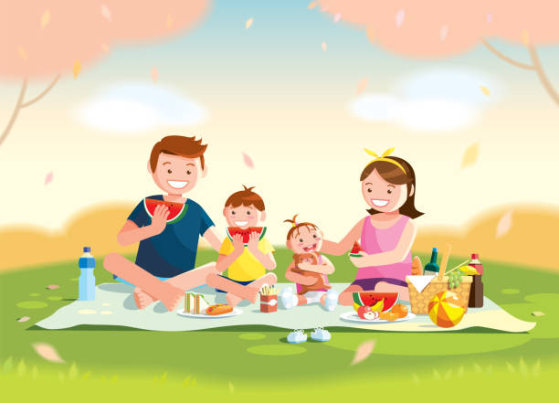 Best Family Picnic Illustrations, Royalty.