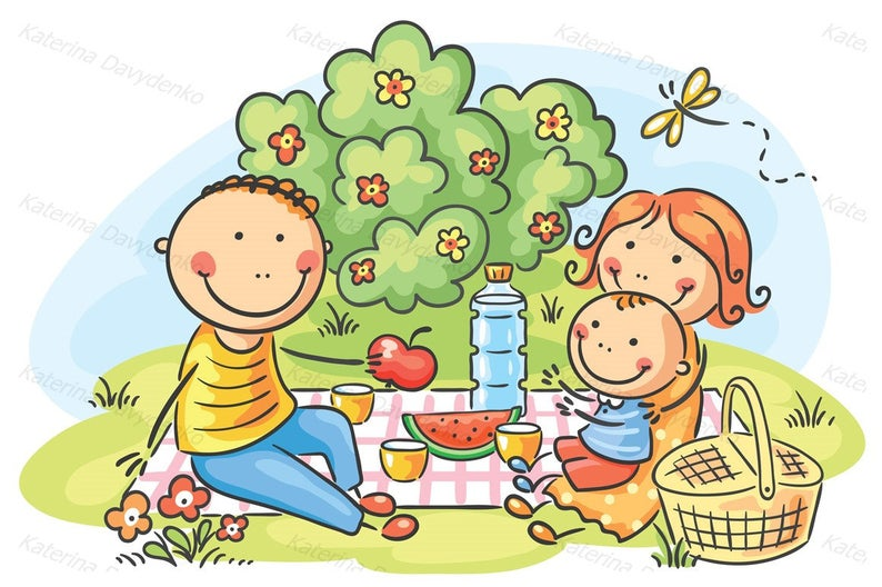 Family picnic. Family clipart, illustration, commercial use. Cartoon family  having picnic outdoors..