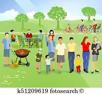 Family Picnic Illustrations.