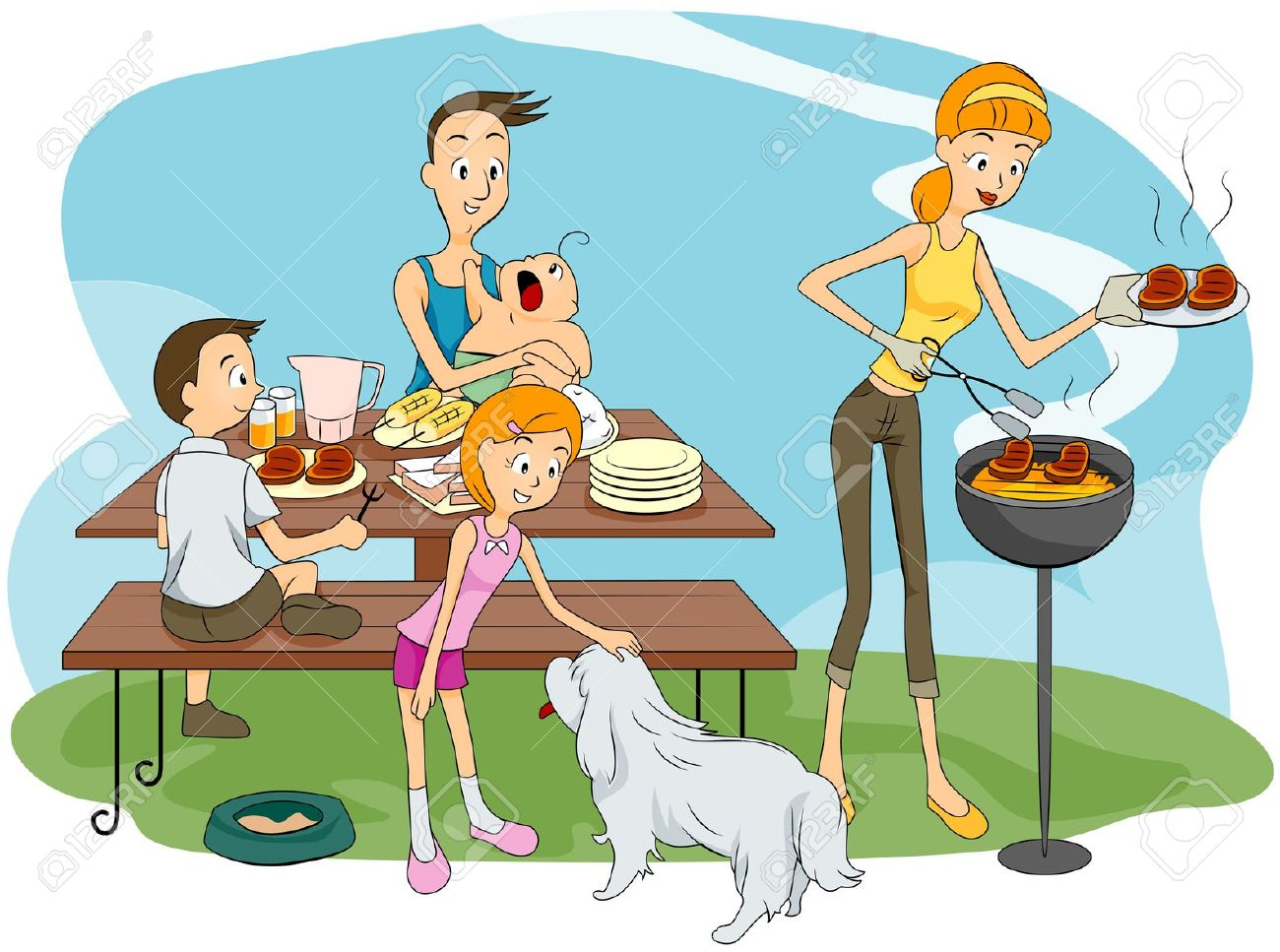 Showing post & media for Cartoon family picnic table.