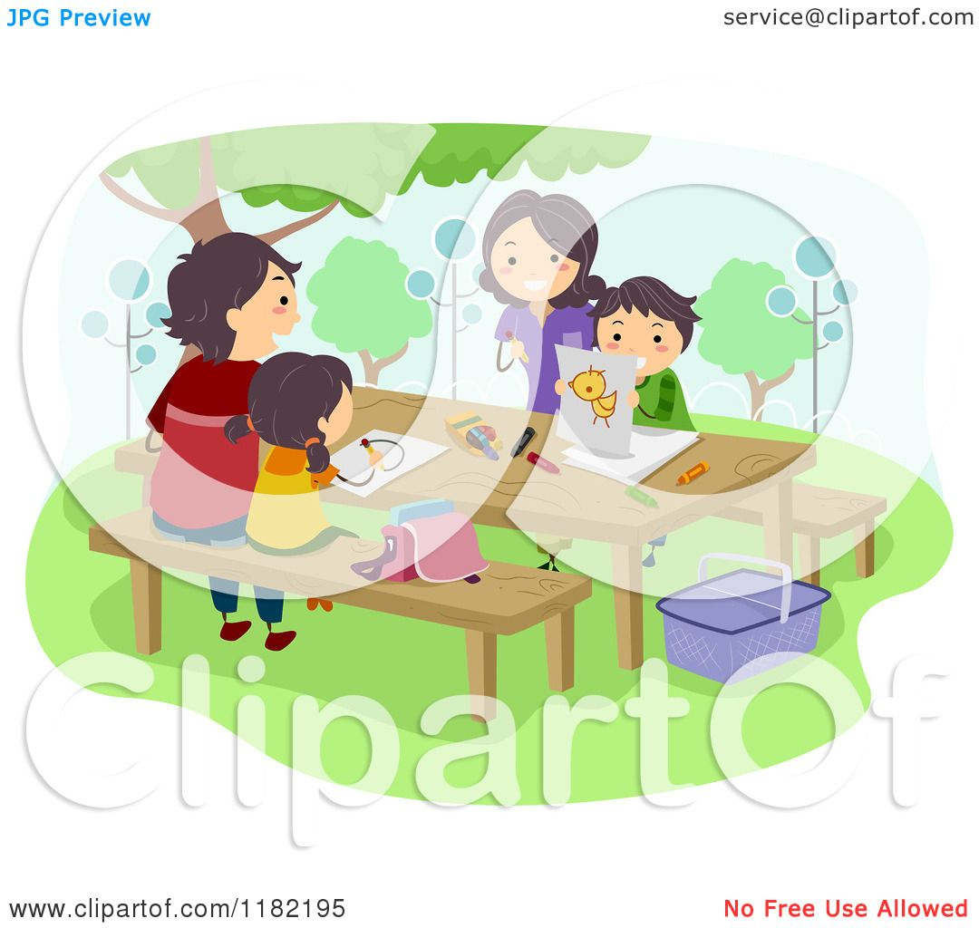 Cartoon of a Happy Family Coloring on a Picnic Table.