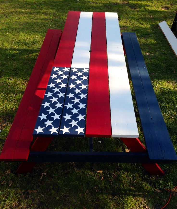 Family Picnic Table Clipart American Flag.