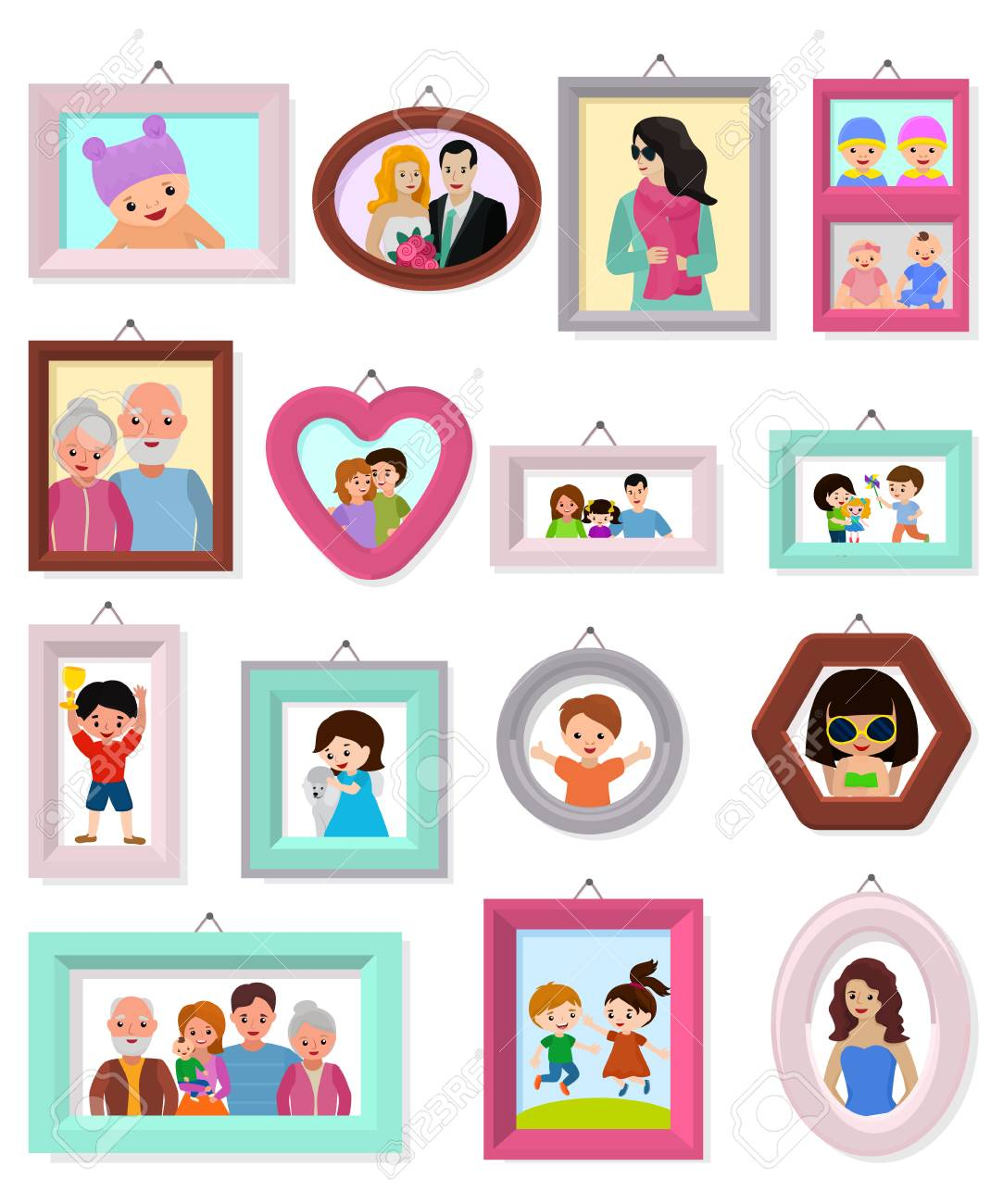 Frame vector framing picture or family photo for wall decoration...