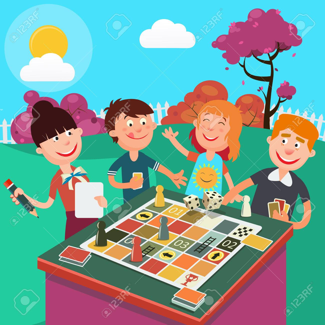 Family Playing Board Game Outdoor. Happy Family Weekend. Vector...