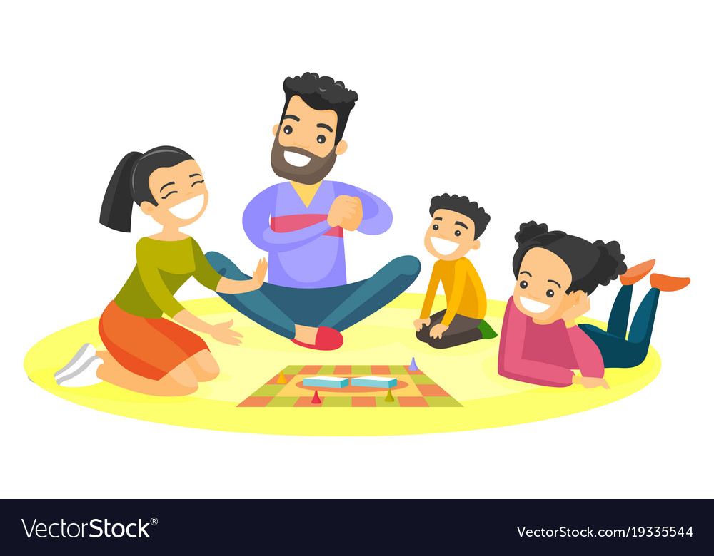 Young caucasian white family playing board game.
