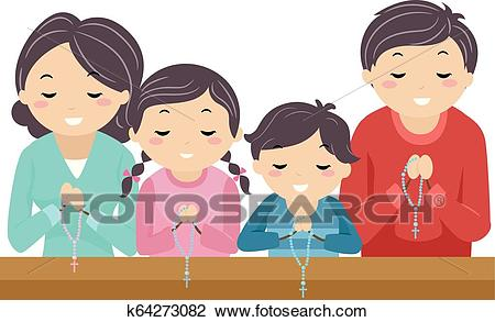 Stickman Family Pray Rosary Church Illustration Clipart.