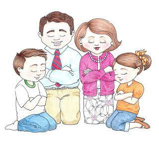 susan fitch design: Family Prayer Illustration.