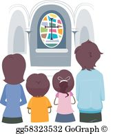 Family Praying Clip Art.