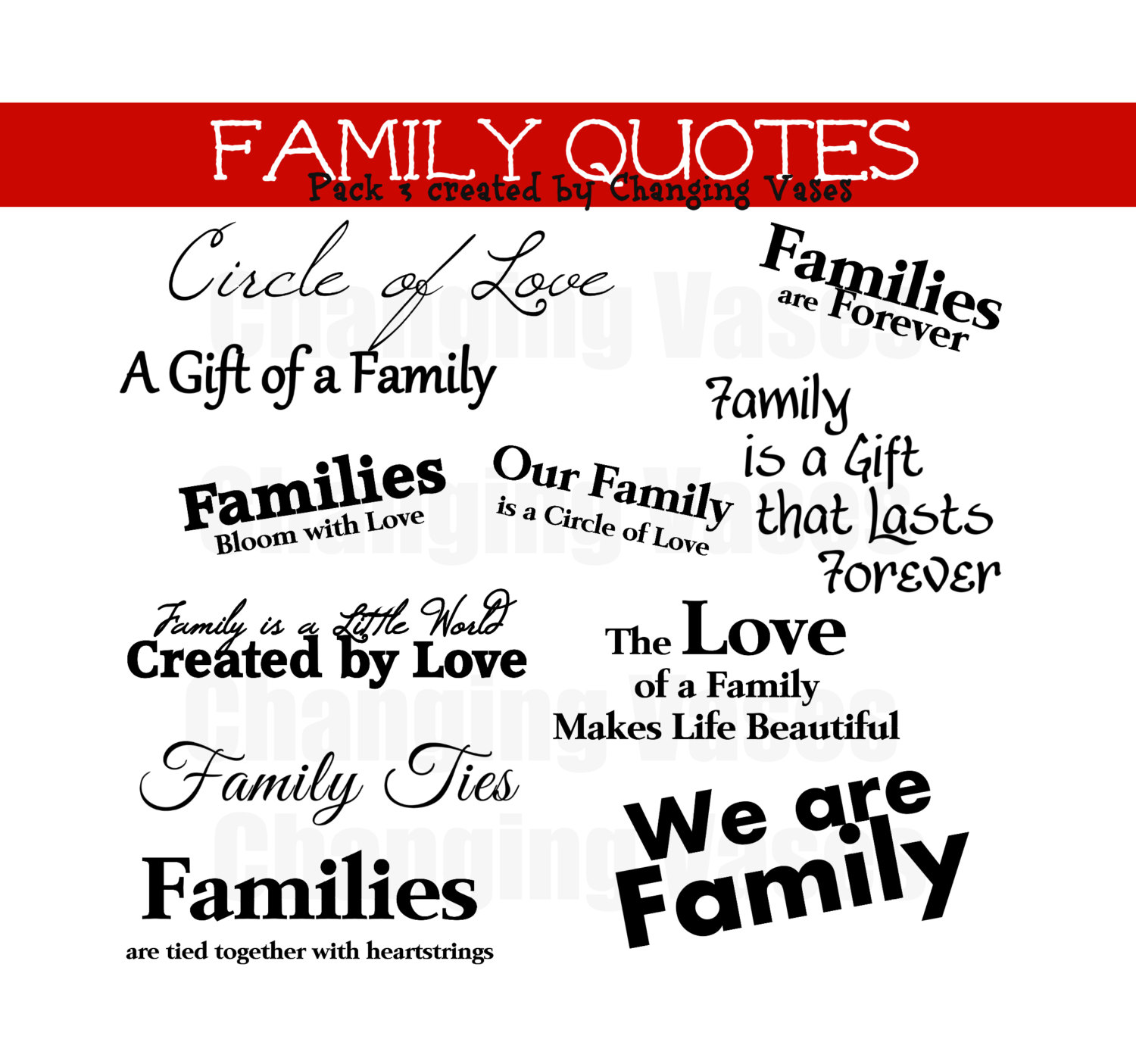 Family Word Art Collection 11 Quotes Words and Phrases Clip art.