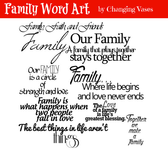 Family Word Art Collection 10 Quotes.