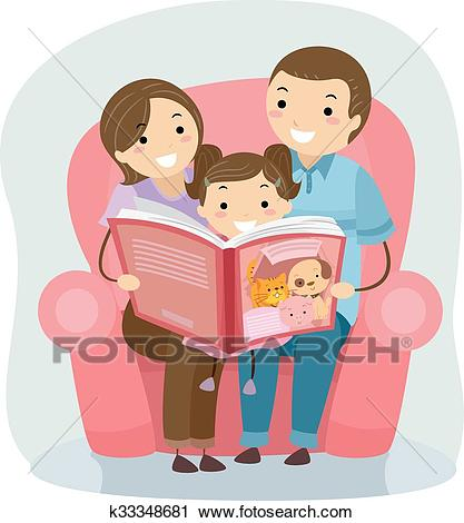 Stickman Family Reading Book Clipart.