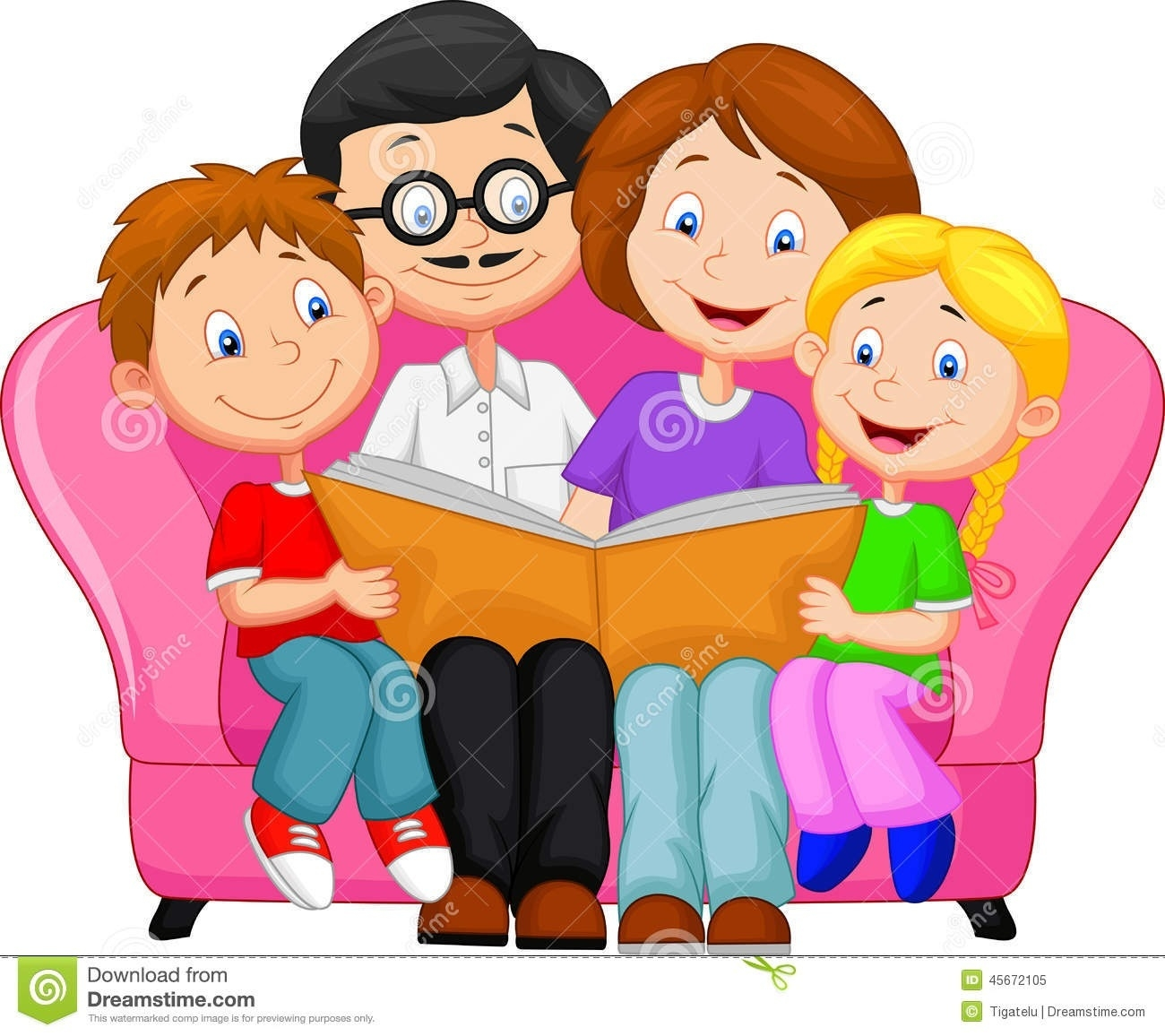 Family Reading Together Clipart.