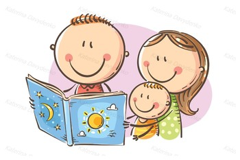 Happy family reading a book together.