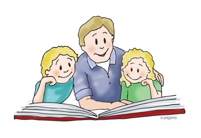 Family Reading Clipart.