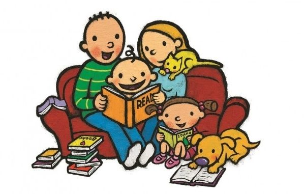 Family Clipart Read Cute Borders, Vectors, Animated, Black And White.