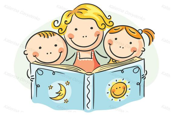 Mother and kids reading together. Family clip art. Commercial use. Family  svg, eps files. Domestic Life, Happy family clipart..