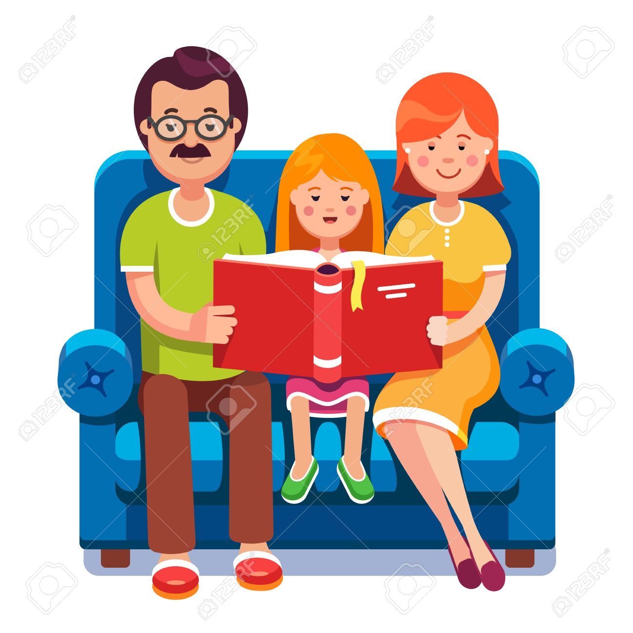 Family. Mom, dad and daughter reading story book together sitting...