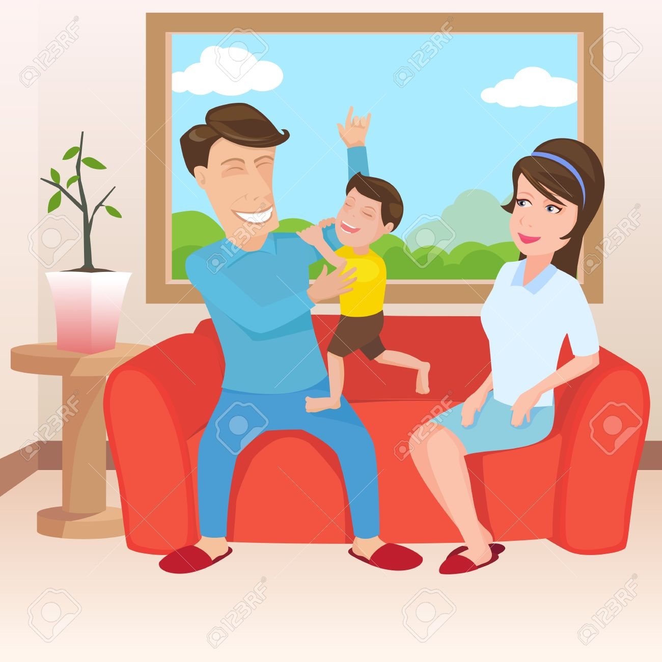 Family in the living room clipart.