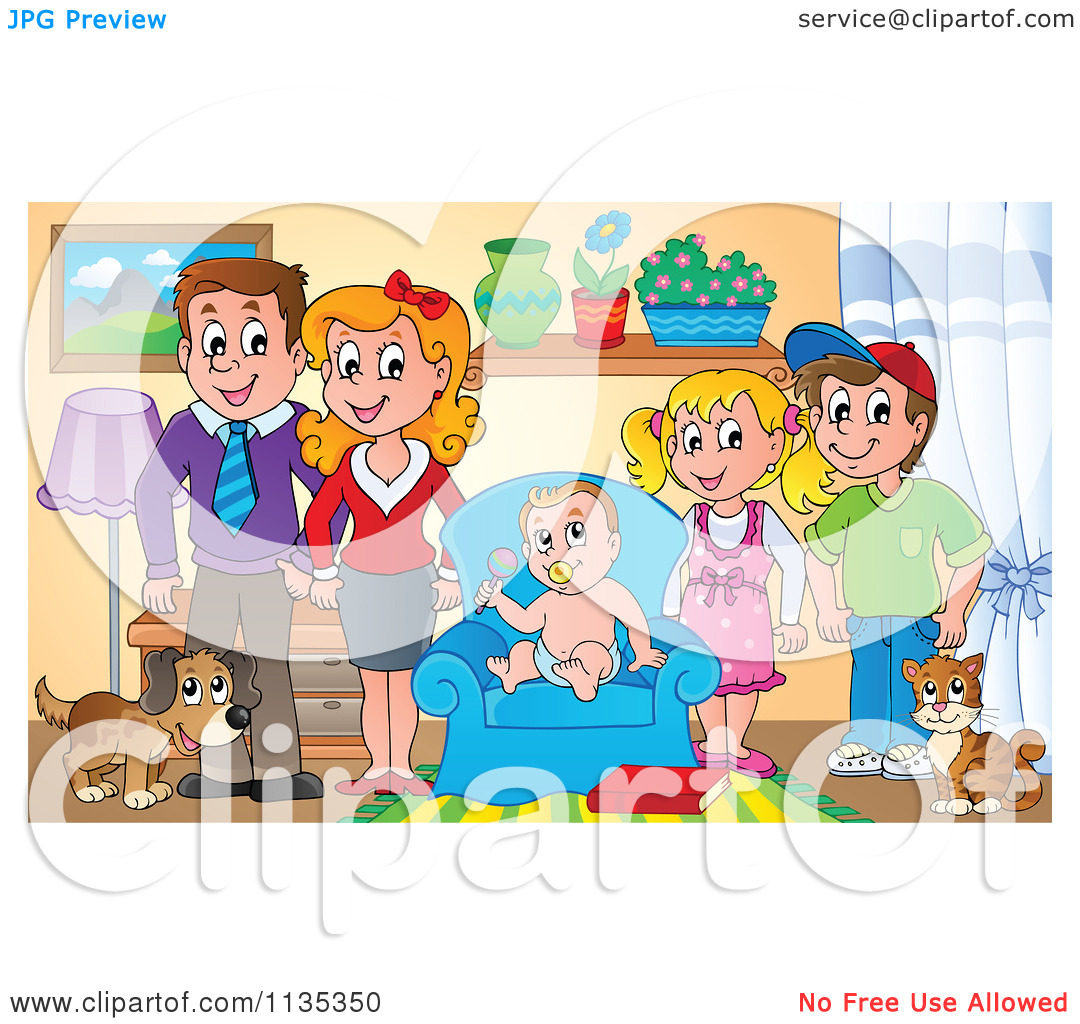 Cartoon Of A Happy Family In A Living Room.