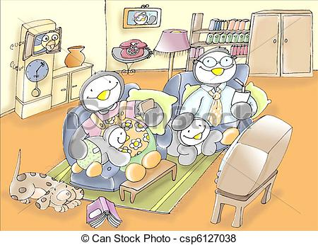 Stock Illustration of family of penguins in the room, Dad, Mom.