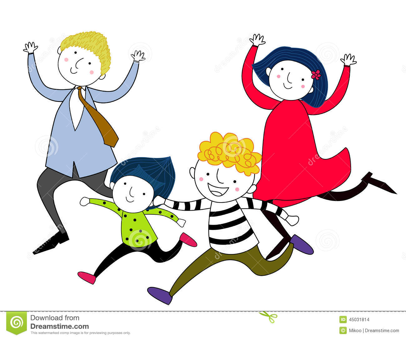 Family Running After Each Other Stock Vector.