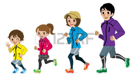 462 Family Jogging Stock Vector Illustration And Royalty Free.