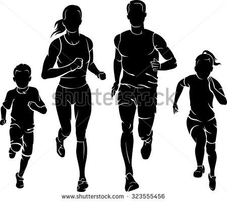 Running Family Clipart.