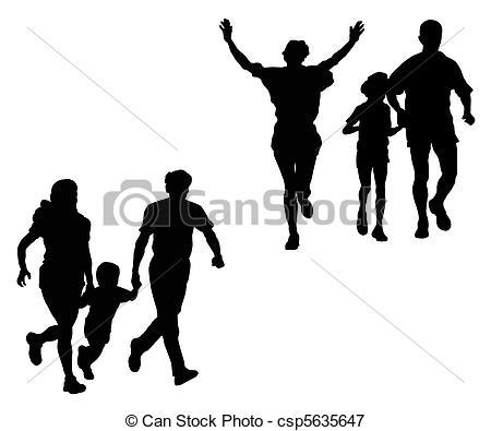Family Running Clipart.