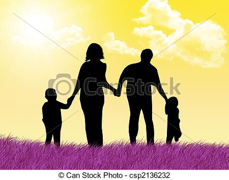 Clip Art of Happy family at spring.
