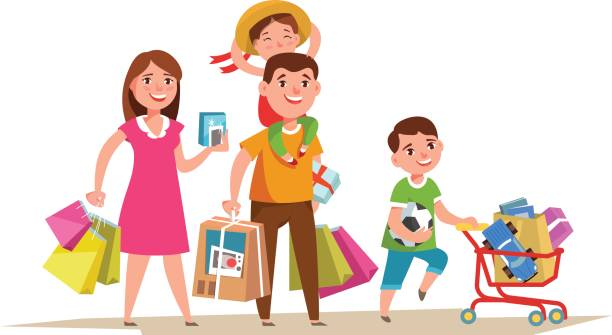 Best Family Shopping Mall Illustrations, Royalty.
