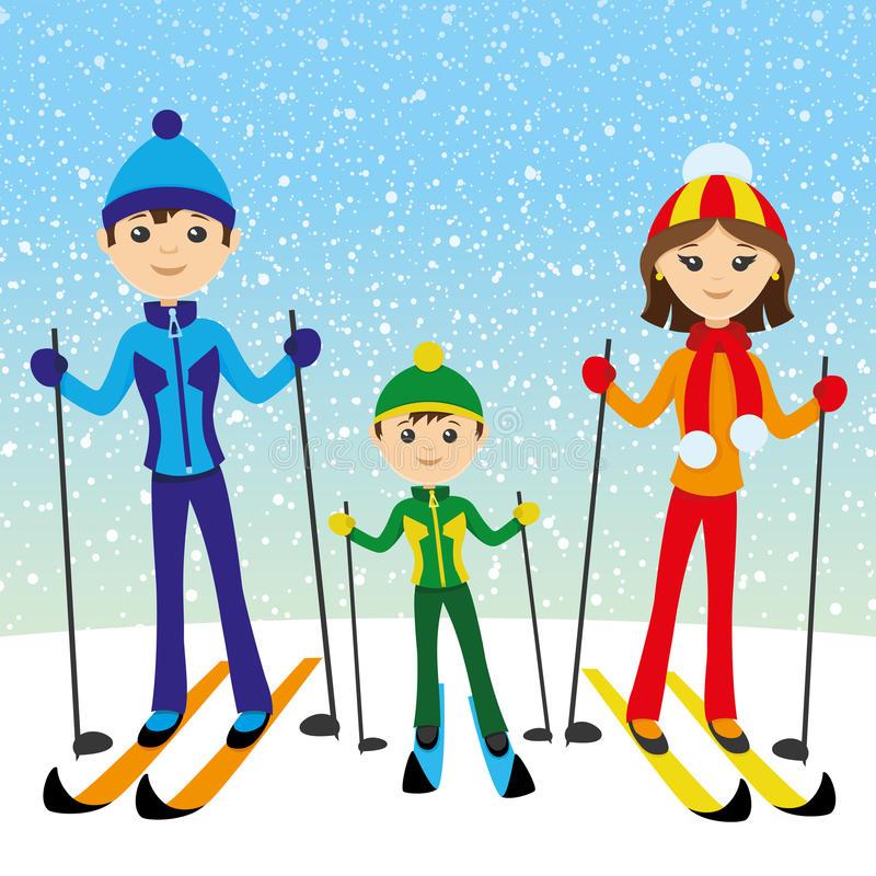 Family Skiing Stock Illustrations.