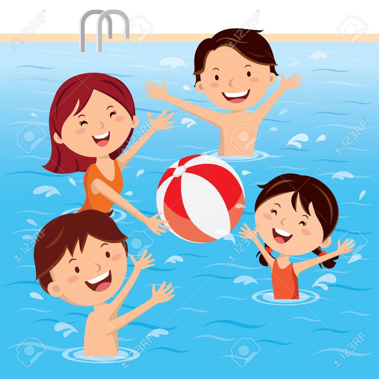 Family having fun in swimming pool.