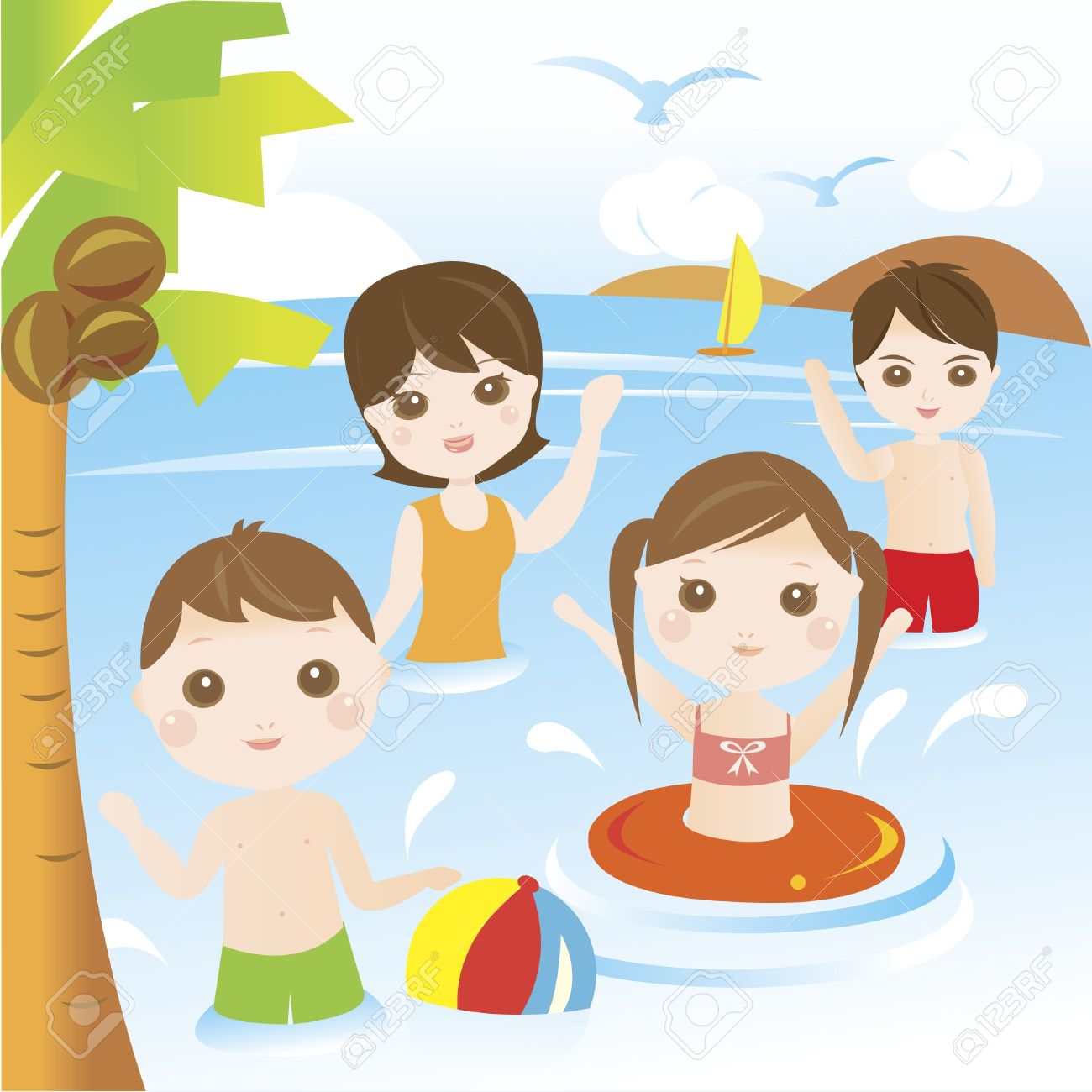 Family playing and swimming in the sea during summer vacation.
