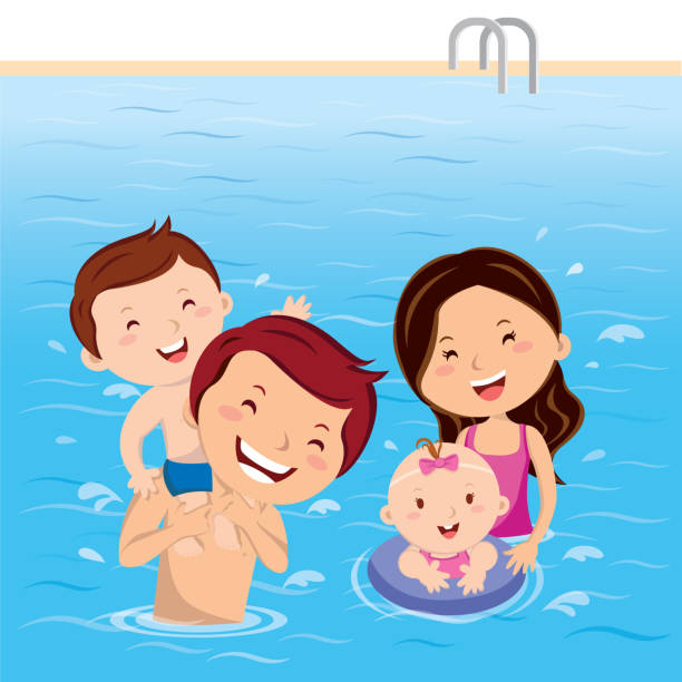 Best Swimming Pool Family Illustrations, Royalty.