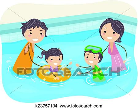 Stickman Family Swimming Pool Clipart.