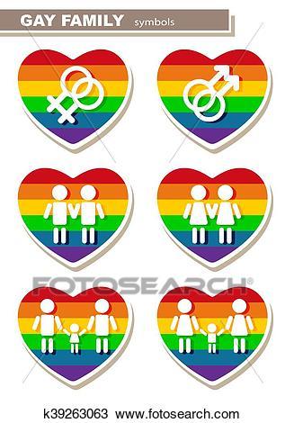 Gay family symbols Clipart.